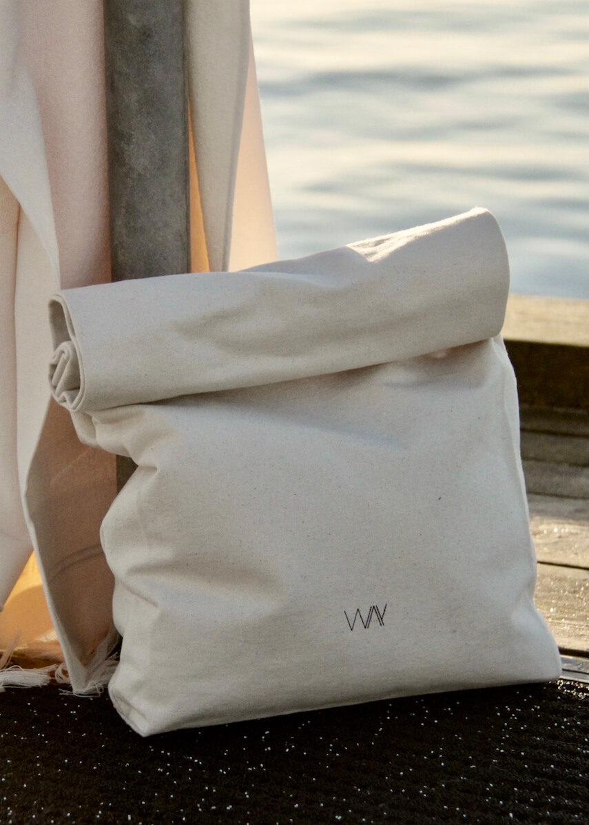 WAY beach towel bag in organic cotton with white towel