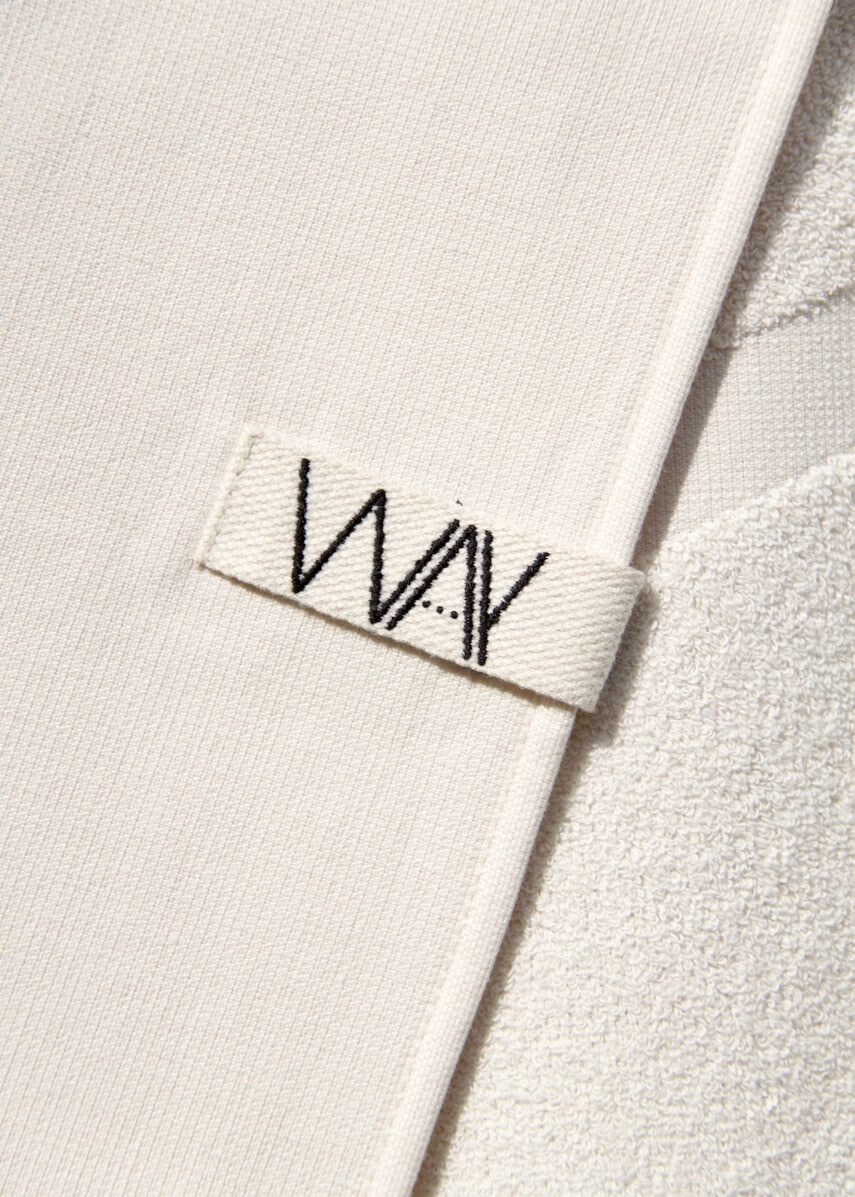 White WAY beach towel with hook detail