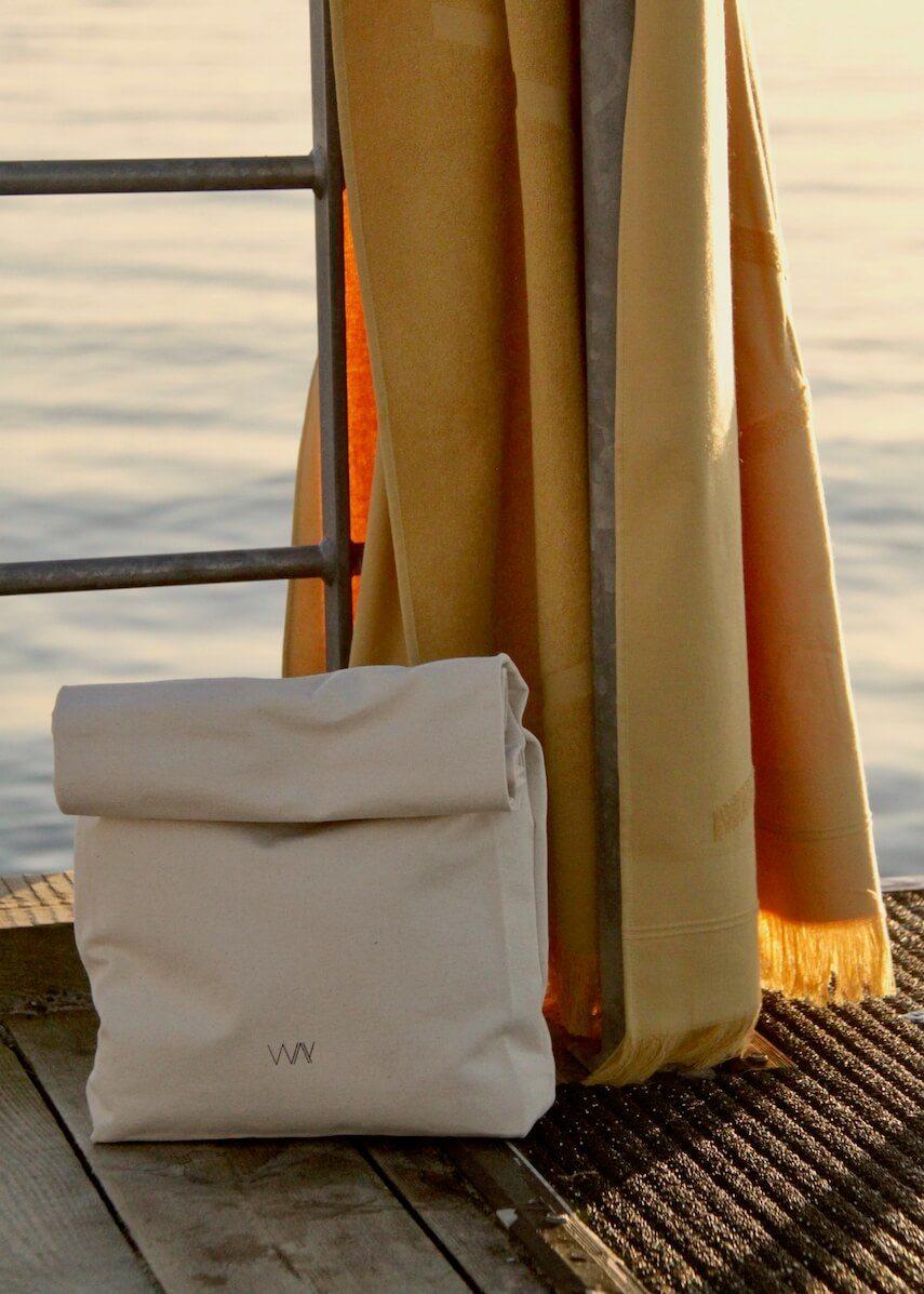WAY beach towel bag in organic cotton with yellow towel